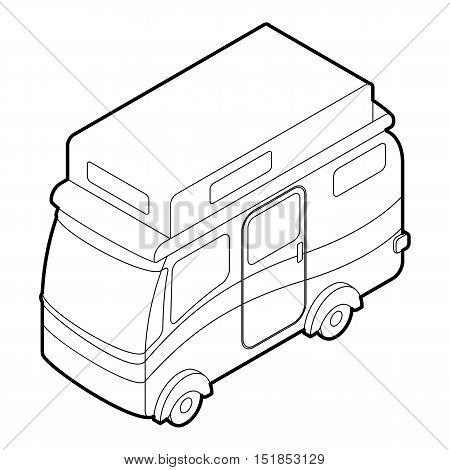 Camper van icon. Outline illustration of camper van vector icon for web