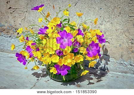 Still Life With Yellow And Violet Wild Flowers