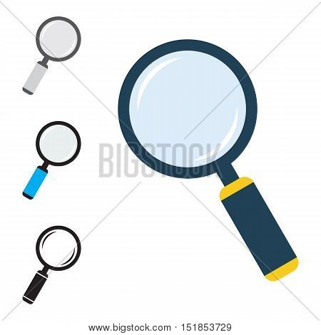 Magnifier flat icons set. Loupe symbols. Magnifying glass with handle. Colored vector eps8 illustration without transparency.
