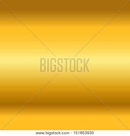 Gold texture. Golden gradient smooth material background. Textured bright metal with light shiny. Metallic blank backdrop decorative pattern. Abstract art for banner invitation Vector Illustration