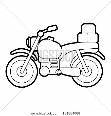 Motorcycle with boxes icon. Outline illustration of motorcycle with boxes vector icon for web