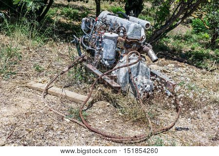 Old car engine in a forest 3