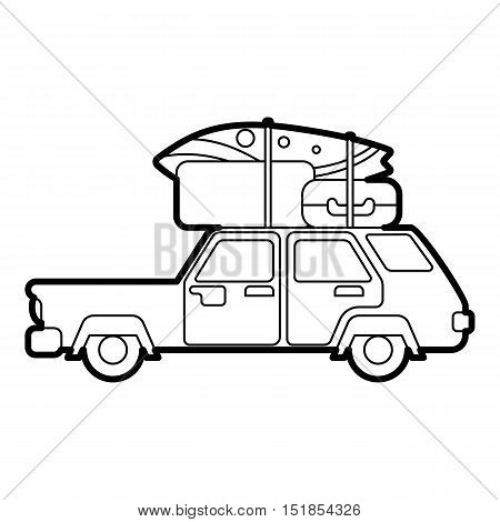 Hatchback car with roof rack top cargo luggage icon. Outline illustration of hatchback vector icon for web