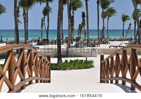 View of the Caribbean Sea from a resort in Playa del Carmen, Mexico