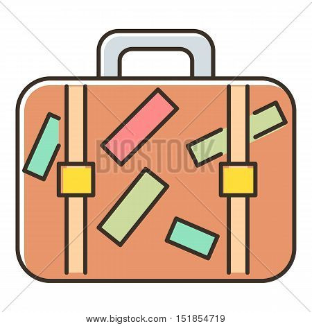 Brown travel suitcase with stickers icon. Flat illustration of travel suitcase vector icon for web