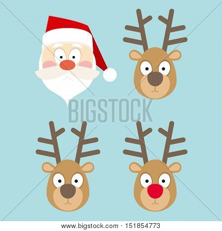 Santa Claus and Deers Faces in Flat Style on a Blue Background