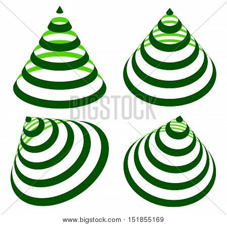 Geometric Triangles With Stripes, Lines In 4 Angle. Cone With Stripes.