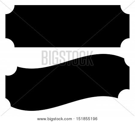 Straight And Waving Empty Plaque, Banner Or Ticket Shapes