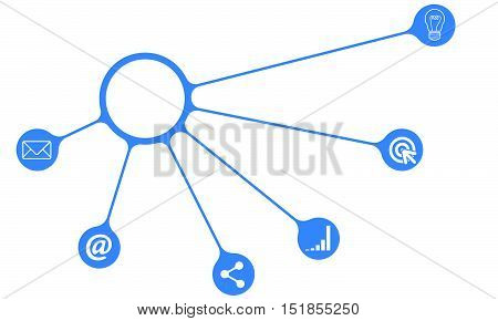 Blue info graphic with theme of internet marketing