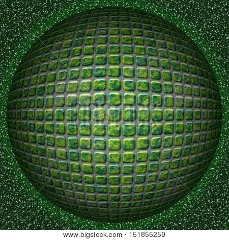 Abstract decorative green sphere, ball - square 3D pattern