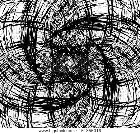 Random Intersecting Lines, Geometric Monochrome Art. Random Chaotic, Curvy Lines.