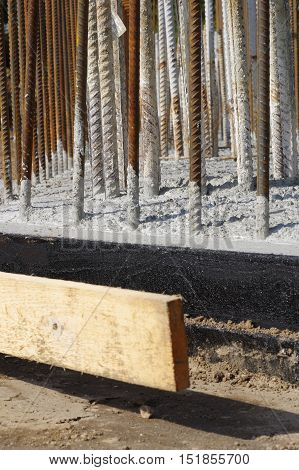 concrete reinforcement groundwork detail construction site building theme.