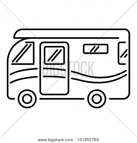 Traveling camper van icon. Outline illustration of camper van vector icon for web