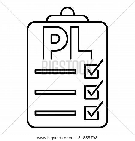 Clipboard with PL icon. Outline illustration of packing list vector icon for web