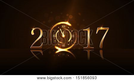 Happy New Year background with magic gold clock countdown five minute. Golden numbers 2017. Christmas night design light glitter. Symbol of wish celebration. Luxury decoration Vector illustration