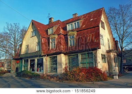 Historic buildings in the popular health resort of Ogre in central Latvia.