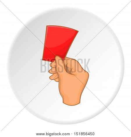 Referee showing red card icon. Cartoon illustration of red card vector icon for web