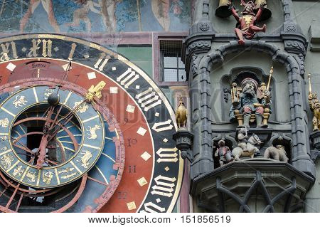 Astronomical Clock On The Medieval Clock Tower -  Zytglogge. The Clock Has Lunar Phases And Show The