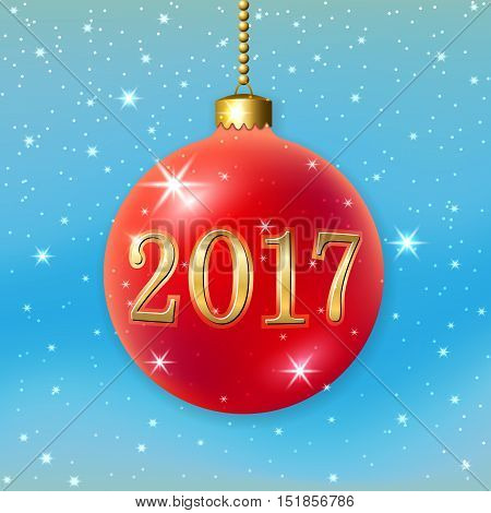 Merry Christmas 2017 decoration on blue background. 3d ball. Stars glitter number red bauble white snowflakes. Bright xmas card. Happy New Year celebration. Holiday design Vector illustration