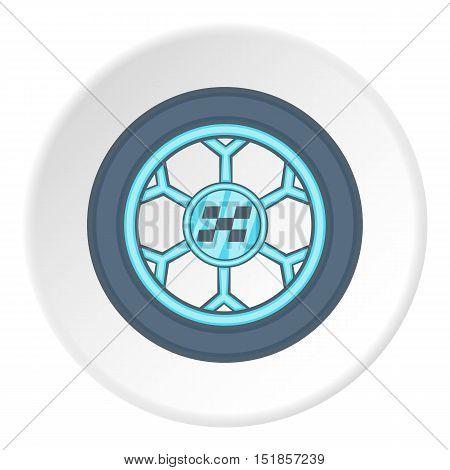 Car wheel icon. Cartoon illustration of car wheel vector icon for web