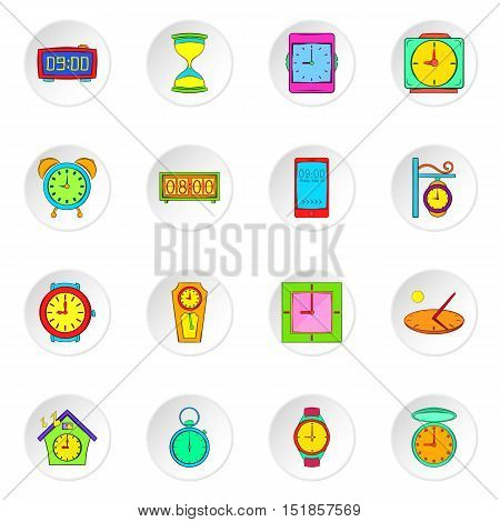Clock icons set. Flat illustration of 16 clock vector icons for web