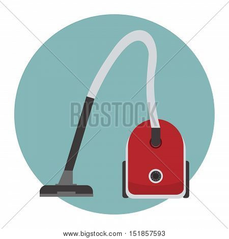 Vacuum cleaner icon. There is a red vacuum cleaner on a blue background in the picture. Vector flat illustration