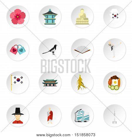 South Korea icons set. Flat illustration of 16 South Korea vector icons for web