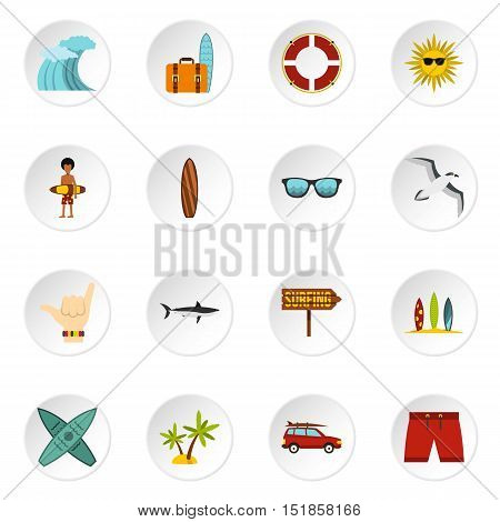 Surfing icons set. Flat illustration of 16 surfing vector icons for web