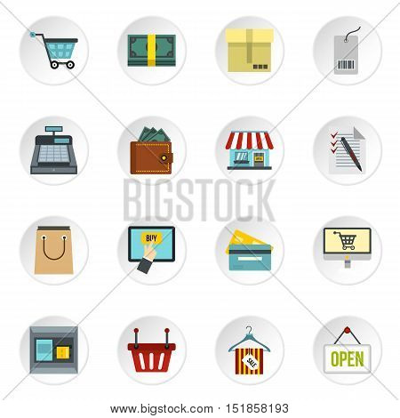 Shopping icons set. Flat illustration of 16 shopping vector icons for web