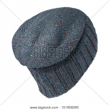 Knitted Hat Isolated On White Background .blue Hat .