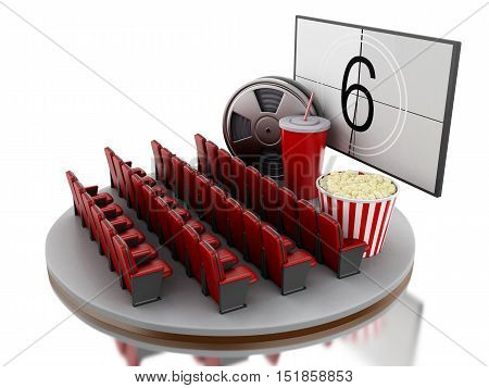 3d renderer image. Cinema movie theater with popcorn film reel and soda. Isolated white background.