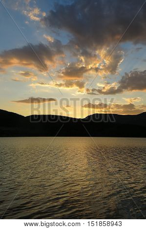 Sunset At The Terradets Reservoir, Catalan Pyrenees, Spain