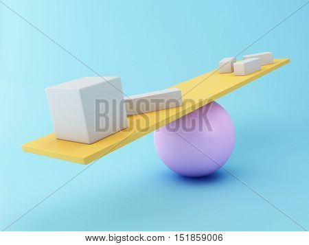 3D Illustration. Different geometric shapes balancing on a seesaw. Business concept.