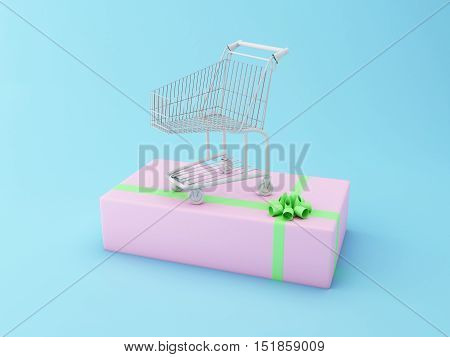 3D Illustration. Shopping cart on a big gift box. Comercial concept.