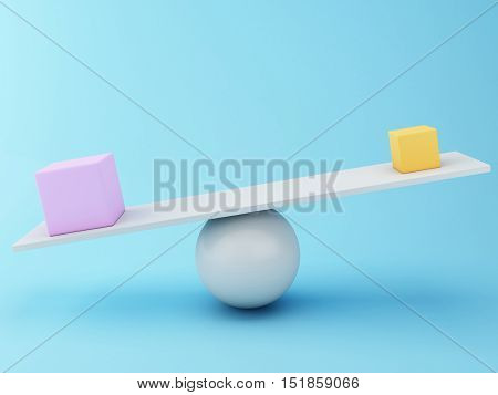 3D Illustration. Different cubes balancing on a seesaw. Business concept.
