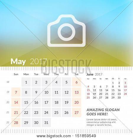 May 2017. Desk Calendar For 2017 Year. Week Starts Sunday. 2 Months On Page. Vector Design Print Tem