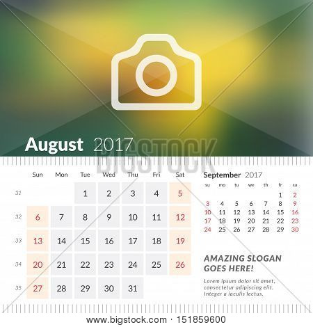 August 2017. Desk Calendar For 2017 Year. Week Starts Sunday. 2 Months On Page. Vector Design Print