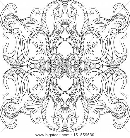 Black and white image of various floral elements and buttrelies symmetrically arranged. Adult coloring page