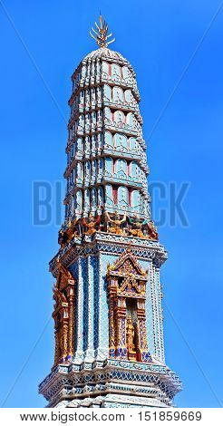Phra Prang Tower in Wat Pho Buddhist temple complex in Bangkok Thailand