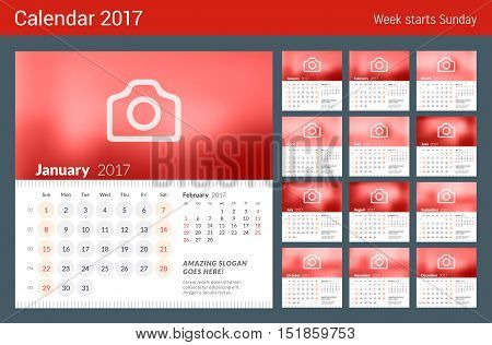 Calendar For 2017 Year. Week Starts Sunday. 2 Months On Page. Set Of 12 Months. Vector Design Print