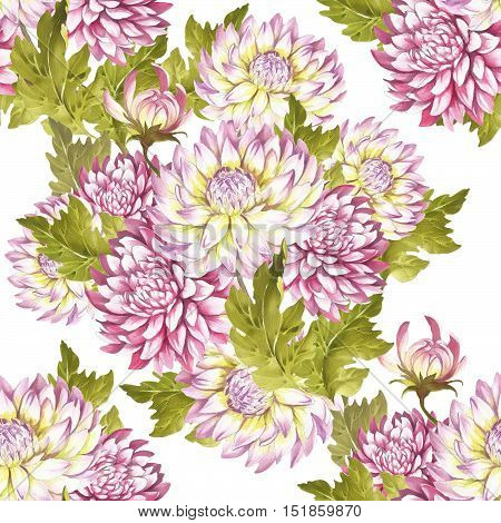 Watercolor seamless pattern with chrysanthemums. Hand draw watercolor illustration.
