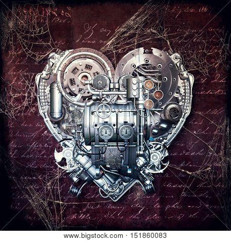 A technically mechanical heart at hard work 3D illustration