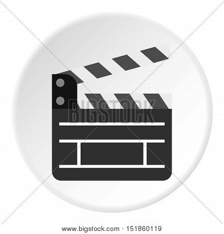 Movie clapper icon. Flat illustration of clapperboard vector icon for web design