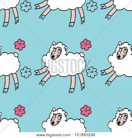 Colorful seamless pattern with white sheeps and flowers isolated on light blue background. For party, designs, birthday, prints, interior decoration, wrapping paper, textile, valentines day cards.