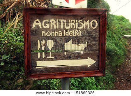 MONTECATINI, ITALY - JANUARY 11, 2016: Welcome sign of eat sleep and drink Agrotourism Hotel Nonna Idelfa in a rural area Montecatini Alto Tuscany Italy