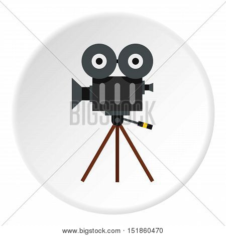 Cinema camera icon. Flat illustration of cinema camera vector icon for web design