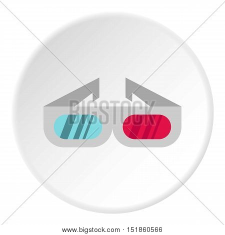 3D cinema glasses icon. Flat illustration of 3D cinema glasses vector icon for web design