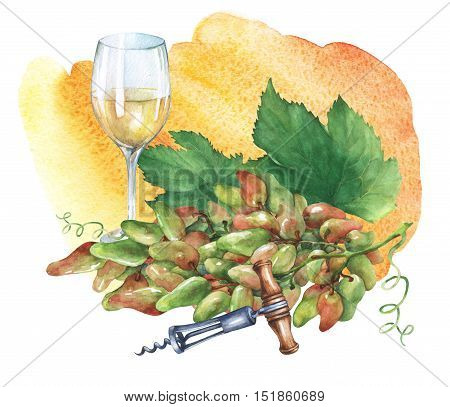 Bunch of fresh grapes,  corkscrew and glasses of  white wine. Hand drawn watercolor painting on yellow and orange watercolor background.