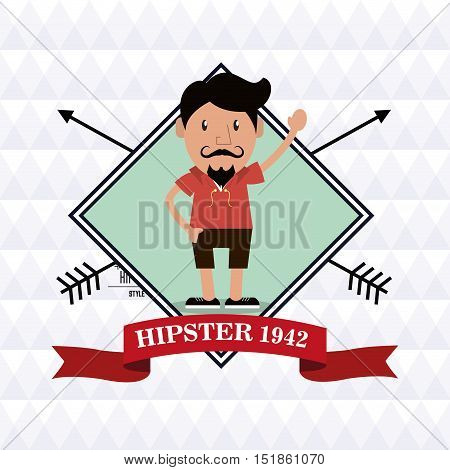 Man cartoon with mustache inside frame icon. Hipster style vintage retro fashion and culture theme. Colorful design. Polygonal background. Vector illustration