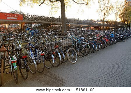 AMSTERDAM, NETHERLANDS - MAY 3, 2016: Huge bicycle parking in the center of Amsterdam, Netherlands. Most of Amsterdam's population moves by bicycle. Sunset light